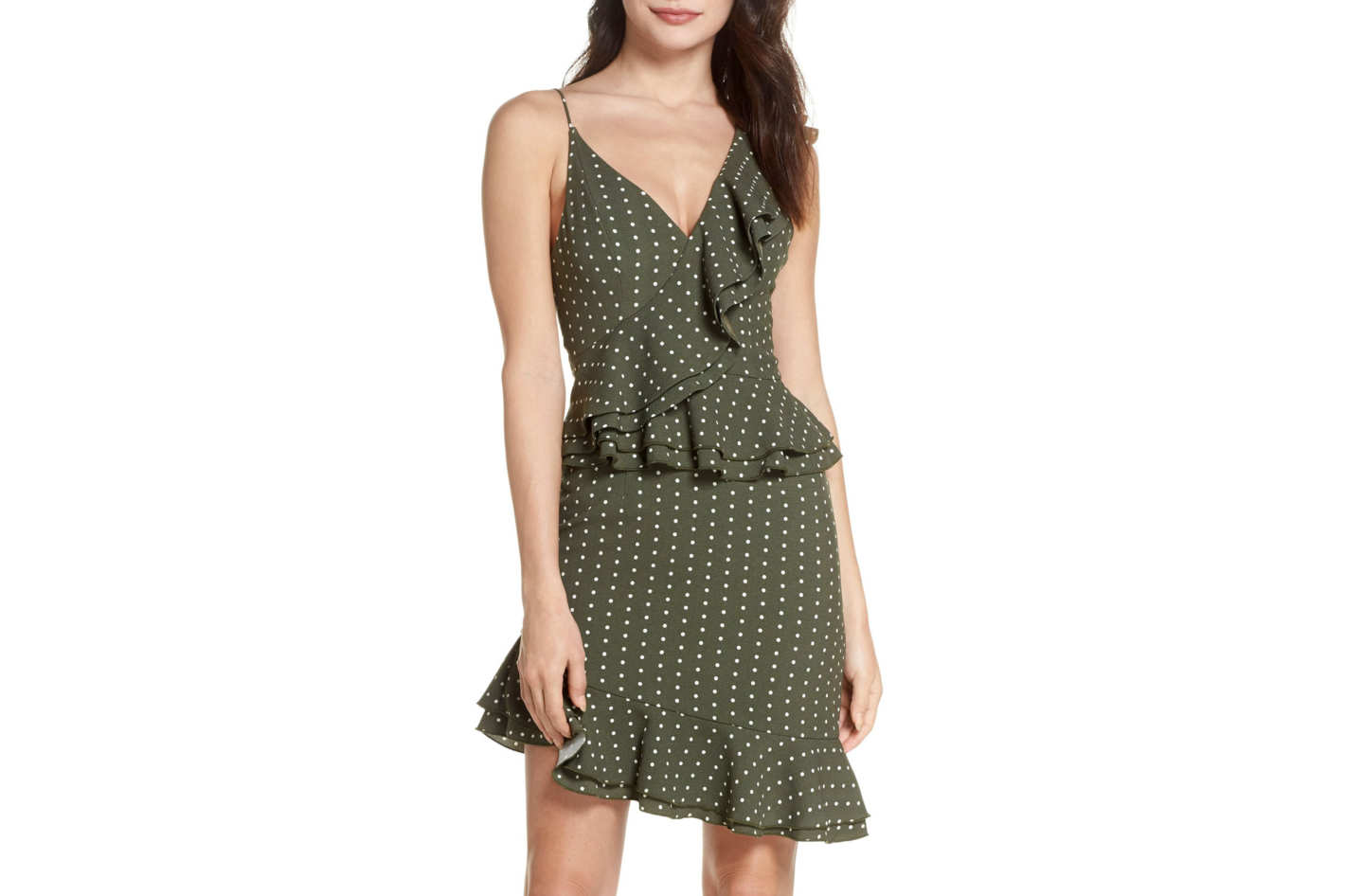 C/MEO Collective Entice Dot Ruffle Trim Dress