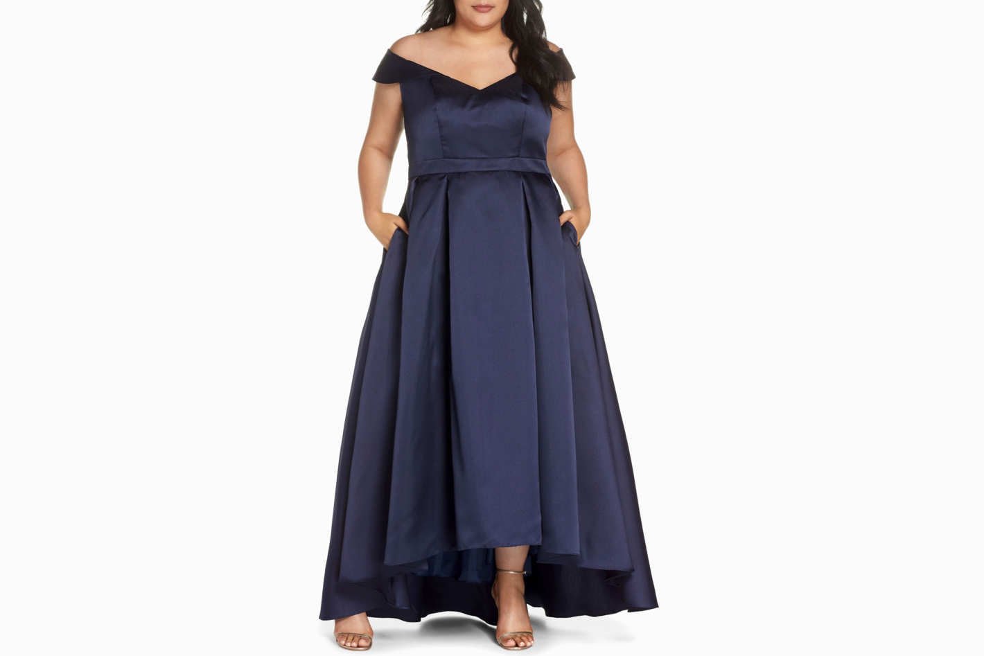 Xscape Off the Shoulder Mikado High/Low Gown