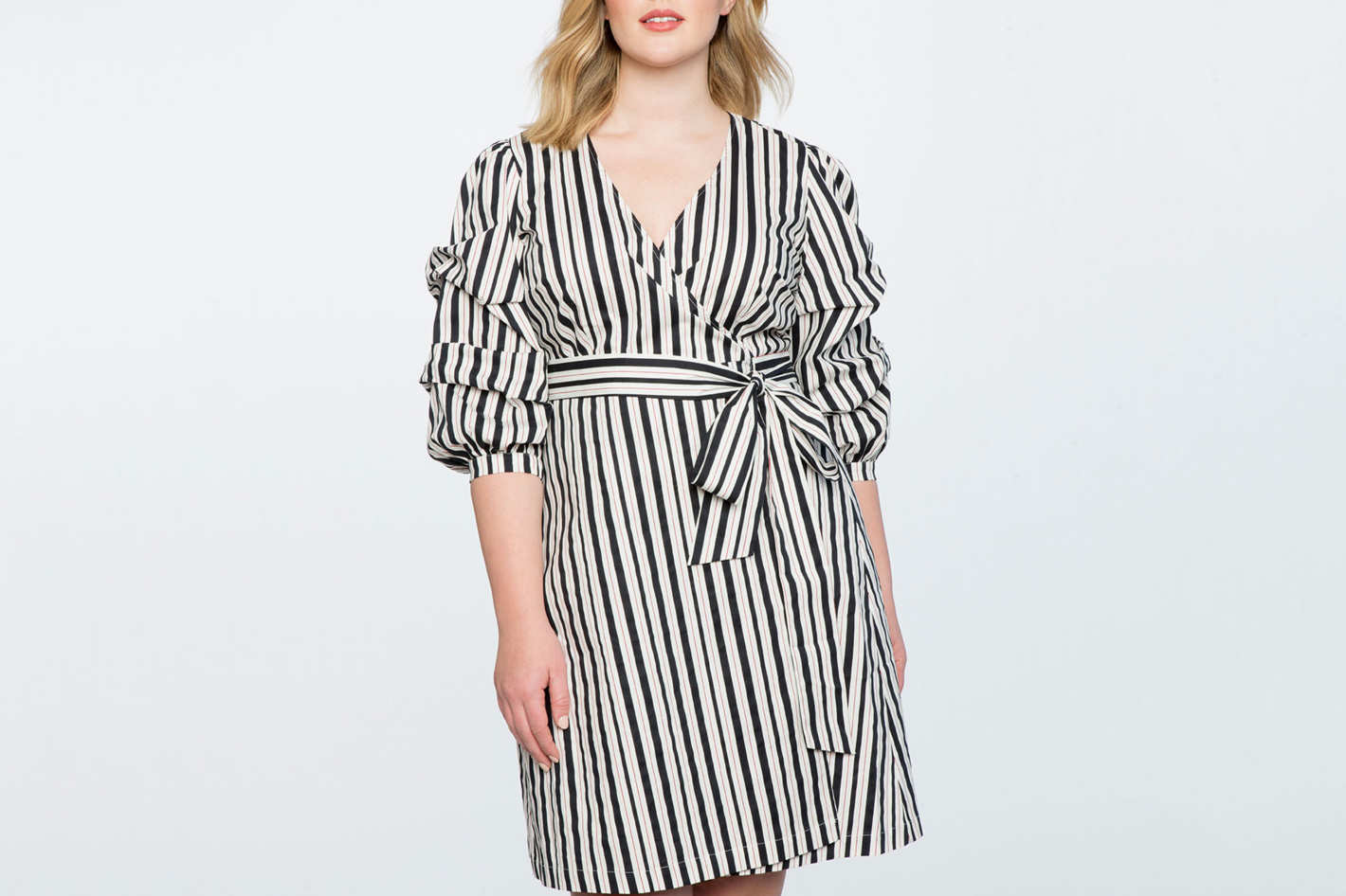 Printed Tucked Puff Sleeve Wrap Dress e24245082
