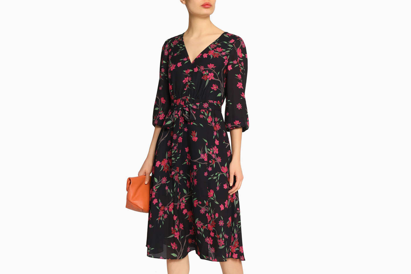 ALICE+OLIVIA Coco wrap-effect floral-print crepe de chine dress 915319708