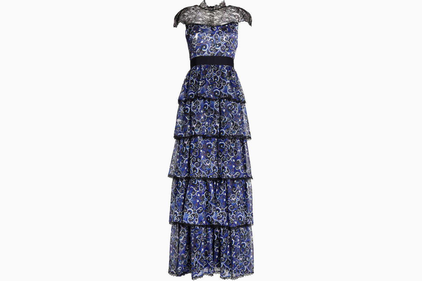 ALICE+OLIVIA McKee Chantilly lace-paneled tiered printed silk maxi dress