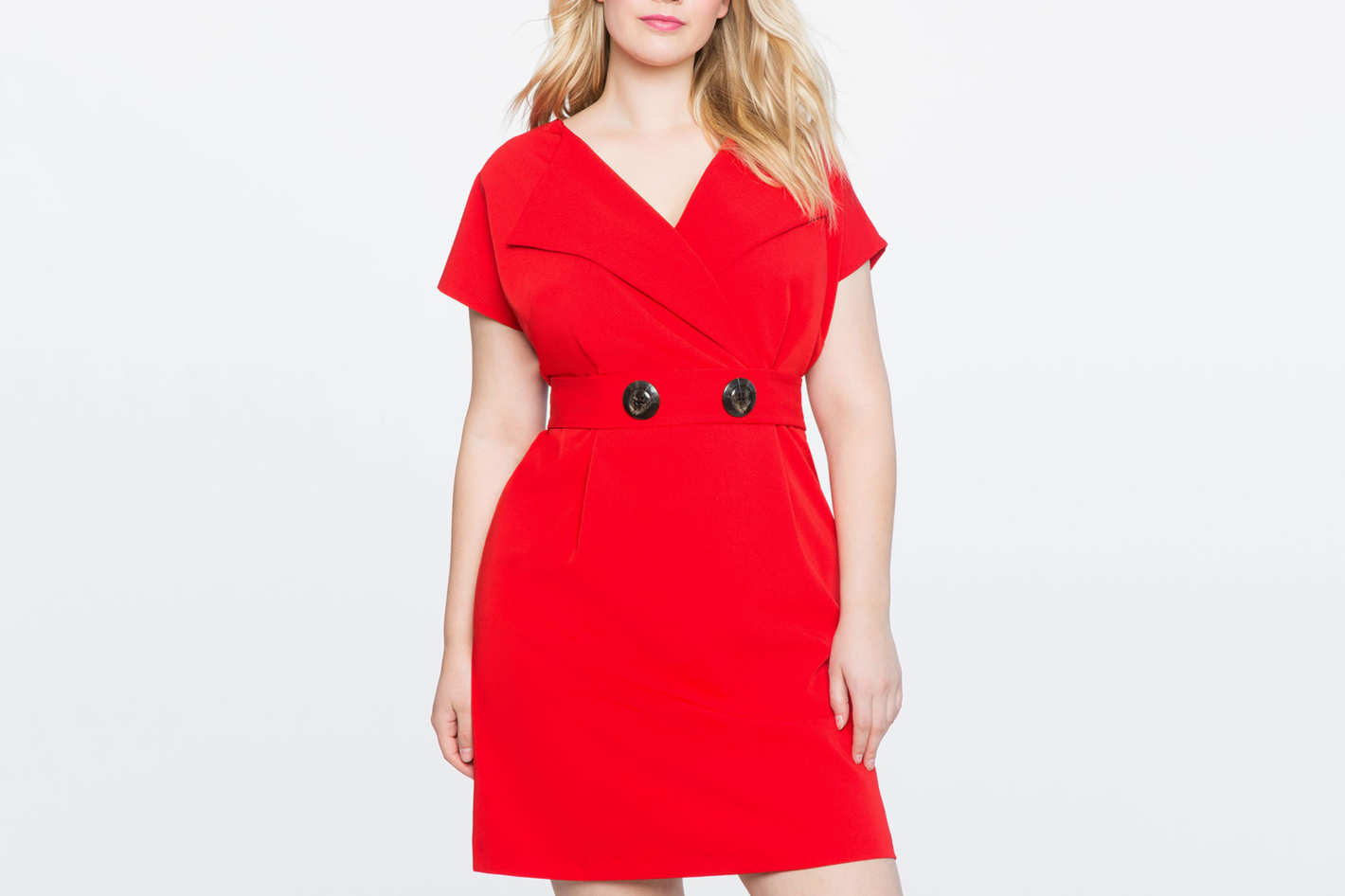 Cap Sleeve Faux Wrap Dress
