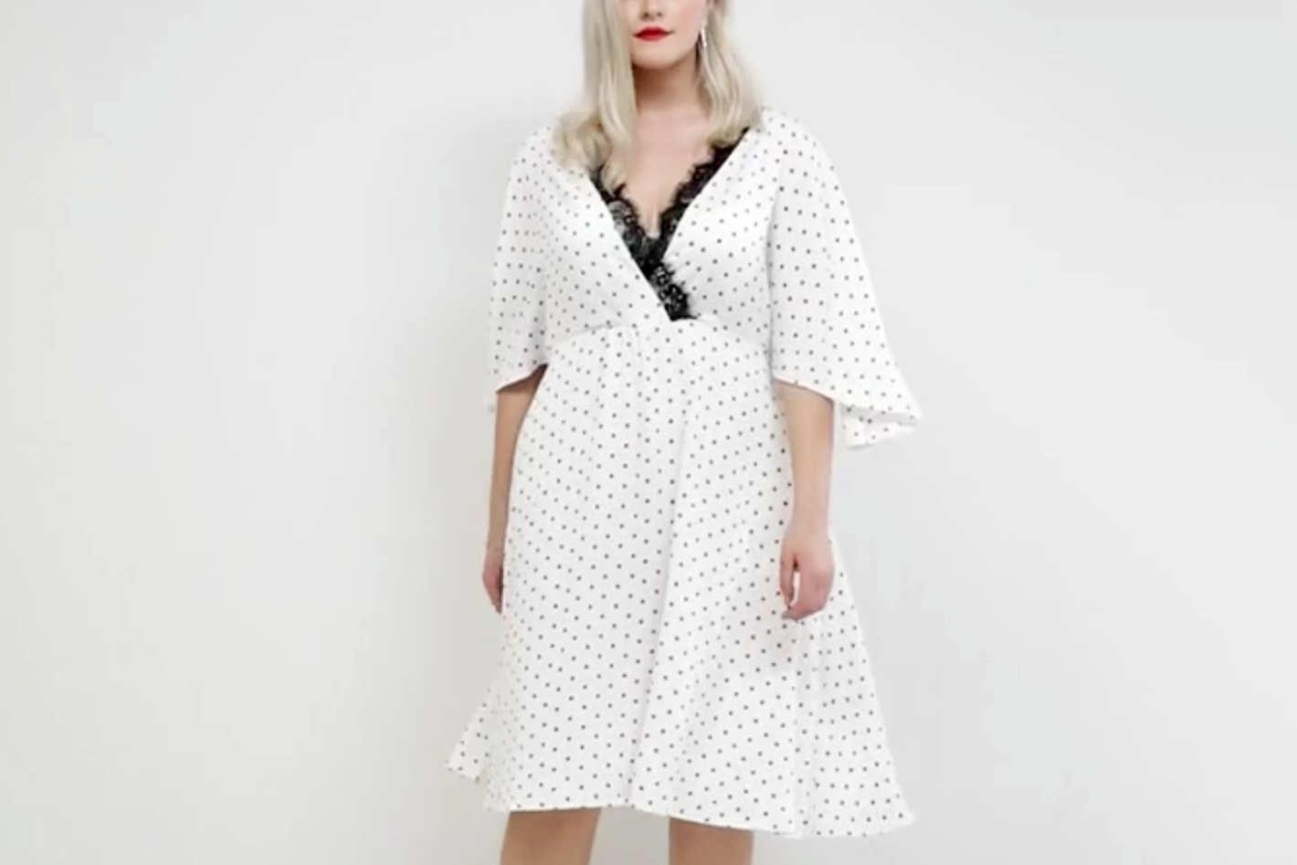 ASOS Curve Spot Lace Trim Kimono Midi Dress
