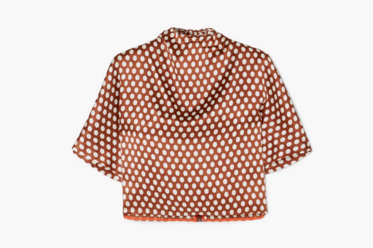 Diane Von Furstberg Polka-Dot Silk-Satin Blouse