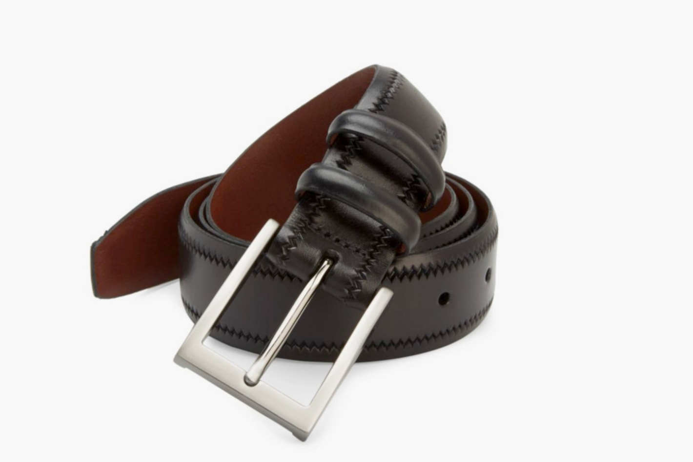 Saks Fifth Avenue Leather Zig-Zag Trim Belt