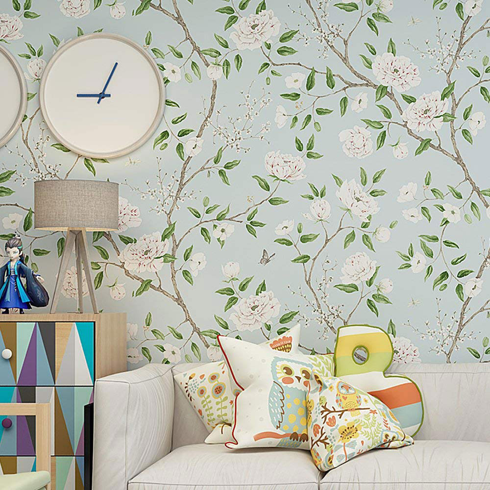 Blooming Wall Non-Woven Vintage Flower Wallpaper