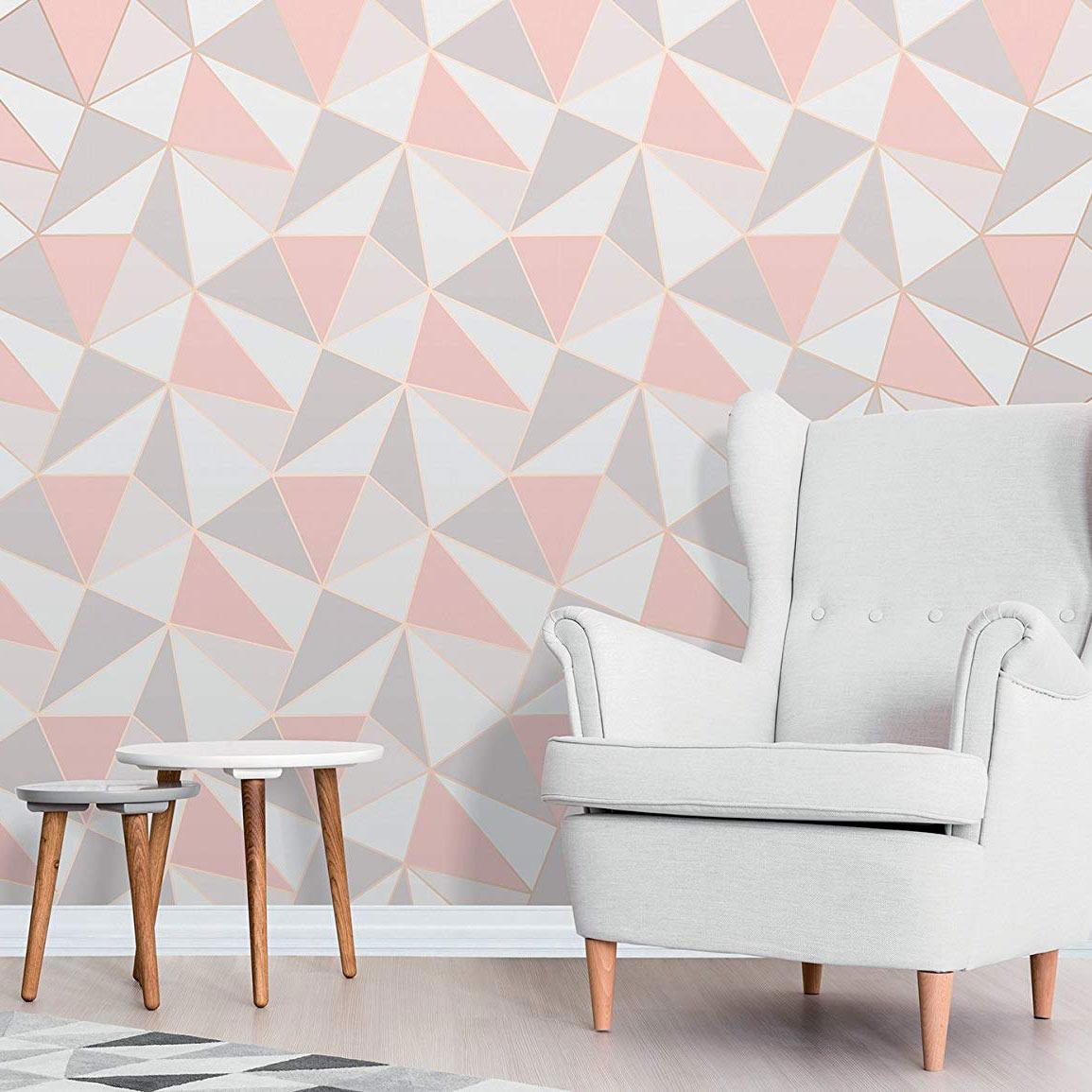 Fine Décor Geometric Wallpaper, Rose Gold