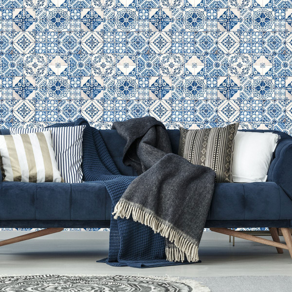 RoomMates Mediterranian Tile Repositionable and Removable Peel and Stick Wallpaper