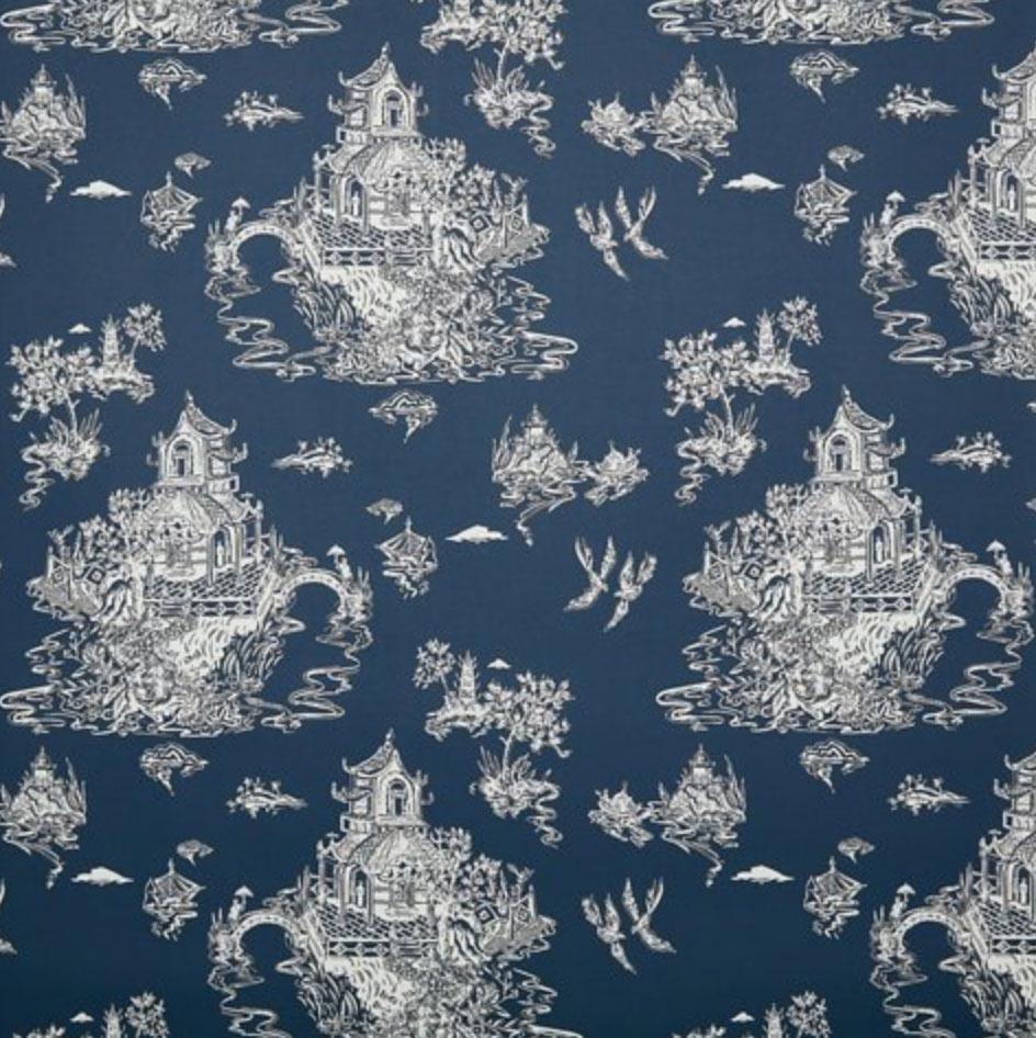 Chinoiserie Wallpaper, Powdery Navy/White