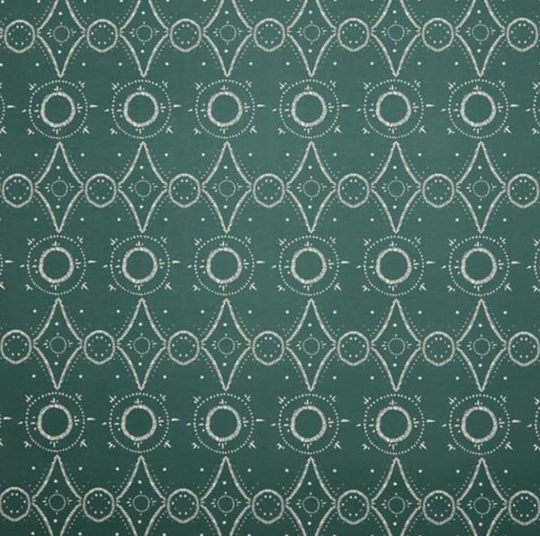Moroccan Wallpaper, Greenwich Green/White
