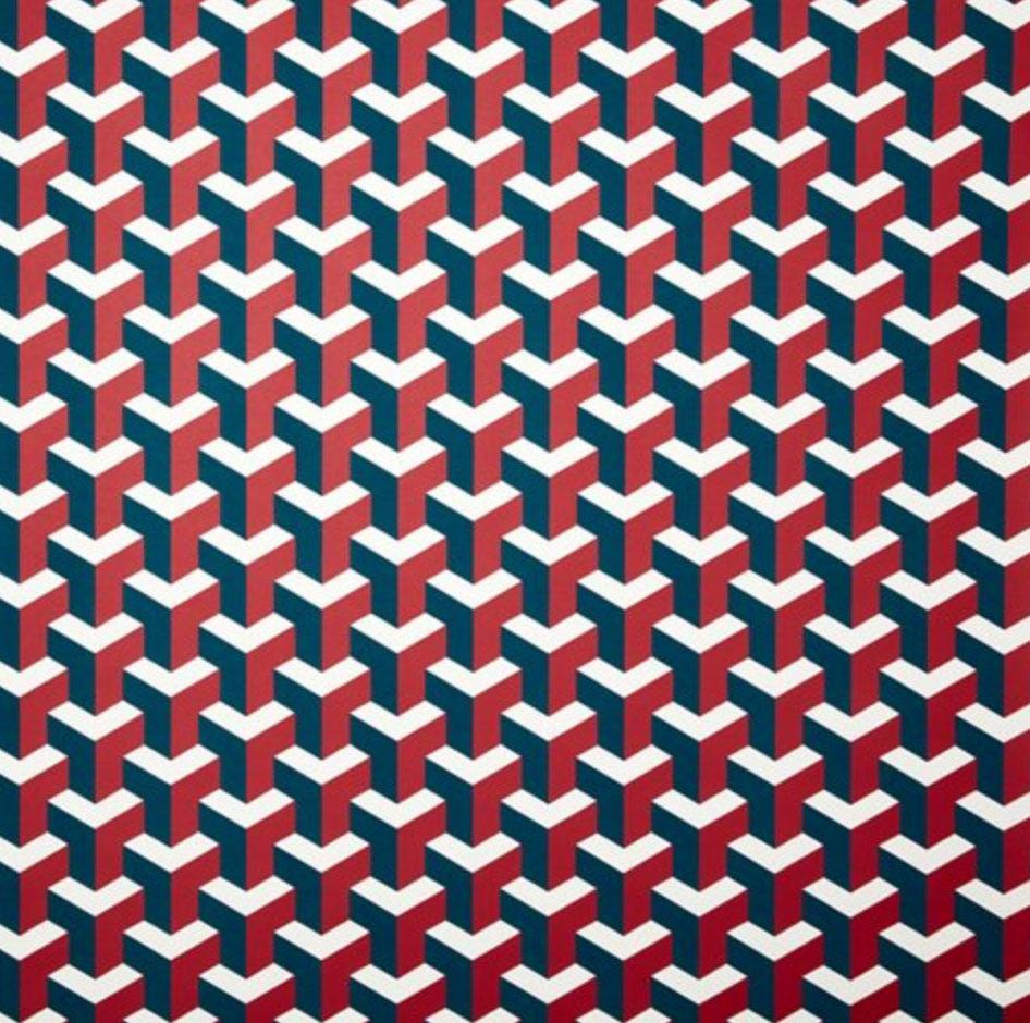 Y Not Wallpaper, Garnet/Indigo