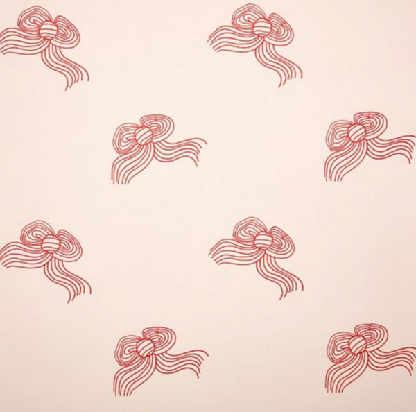Clare V Bows Wallpaper, Red/Shell