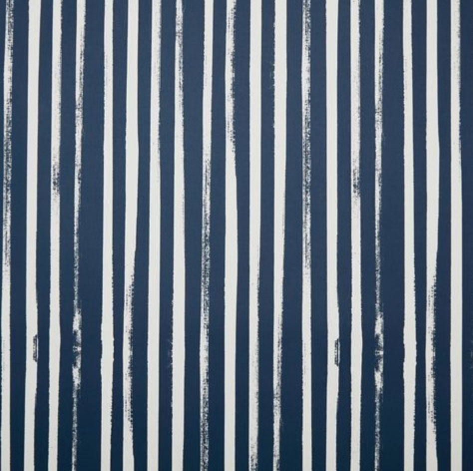 Stripes Wallpaper Powdery Navy White
