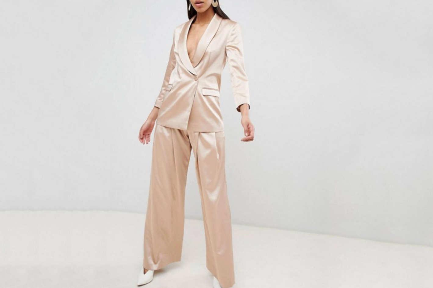 ASOS Design Tailored Occasion Satin Suit Blazer