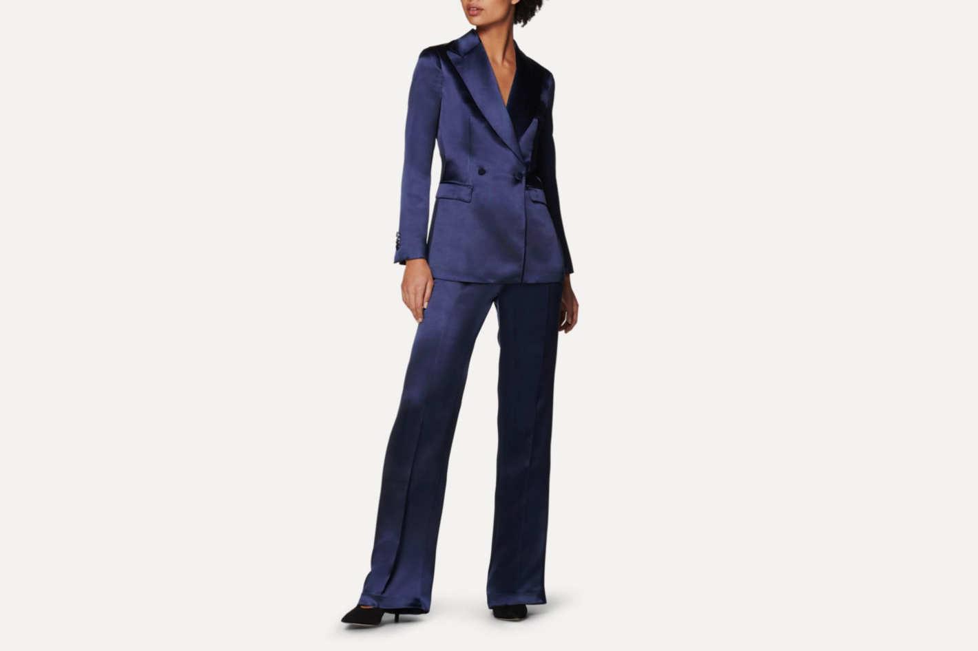 Cameron Navy Silk Jacket
