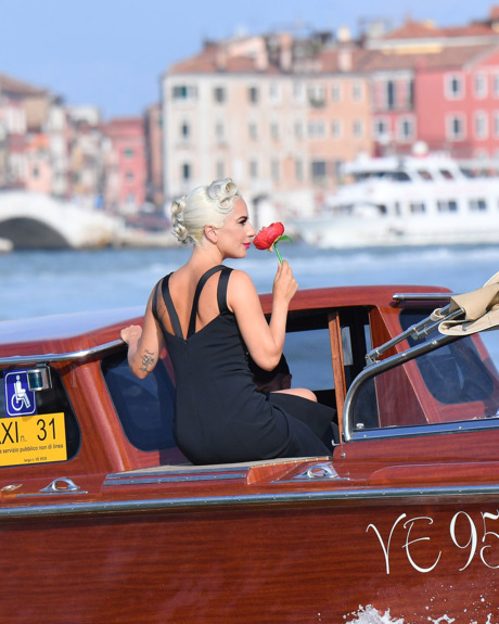 Lady Gaga on a boat in Venice.