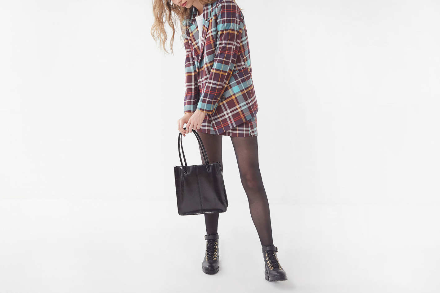 UO Checkered Double-Breasted Blazer