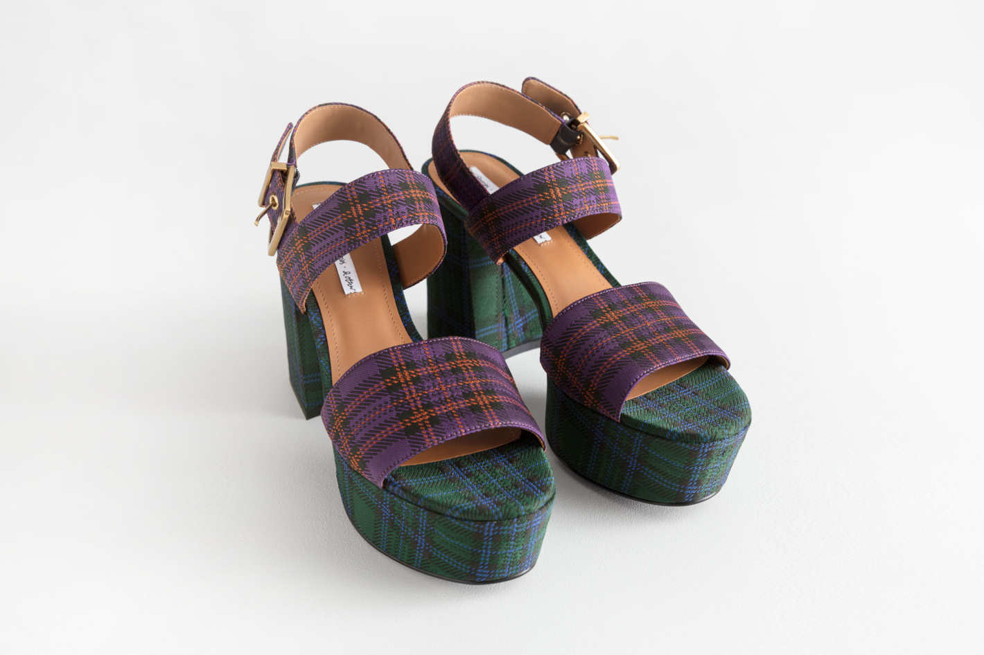 Duo Plaid Platform Heels