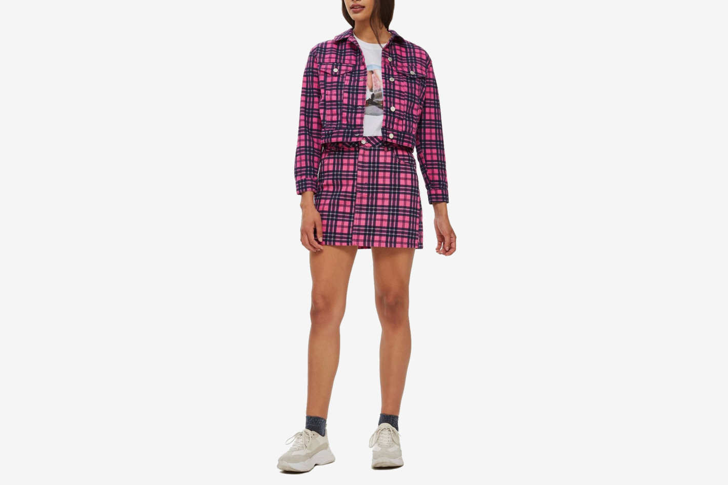 Pink Check Denim Co-Ord Set