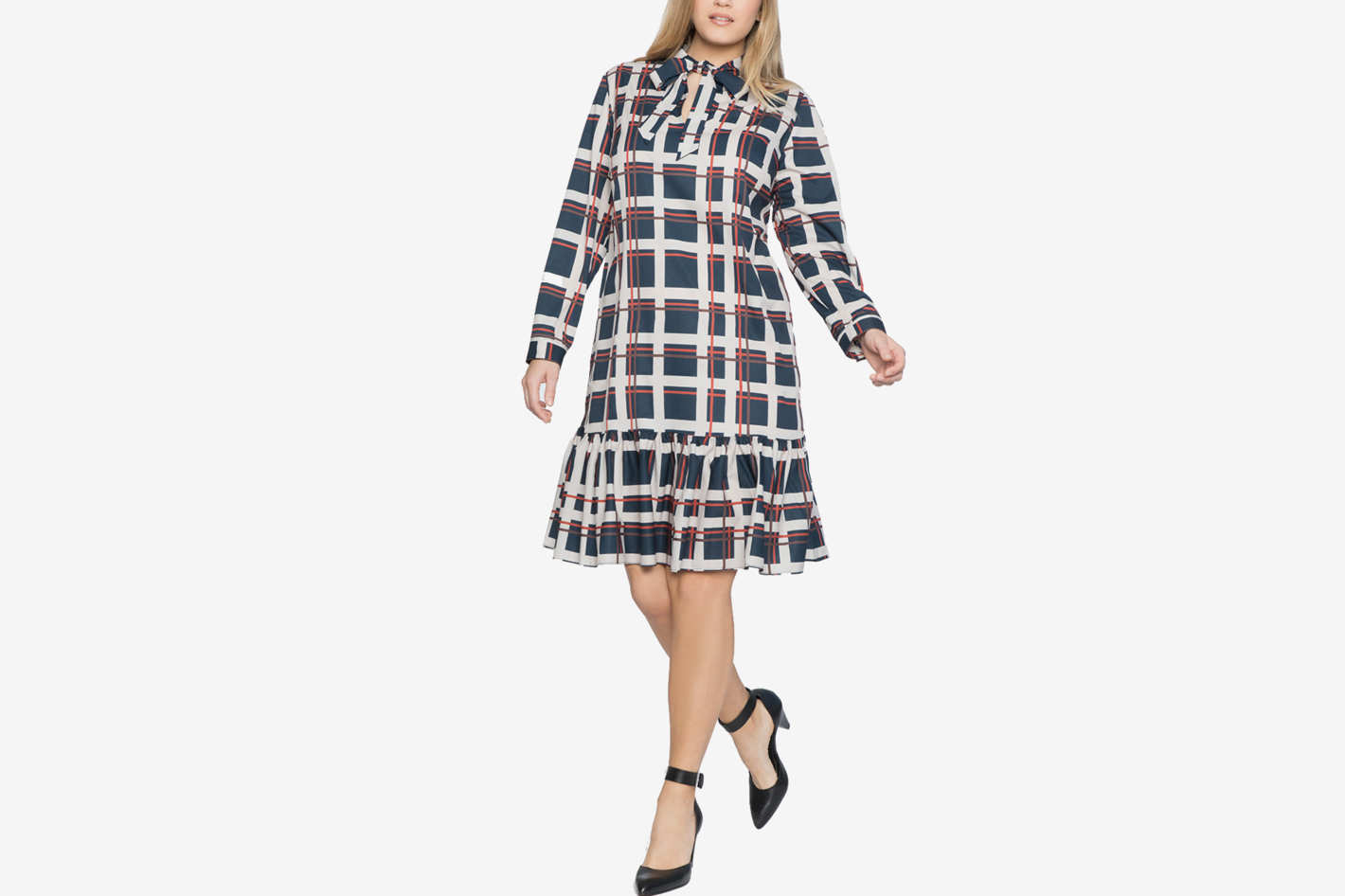 Tie Neck Ruffled Hem Mini Dress in Power Plaid