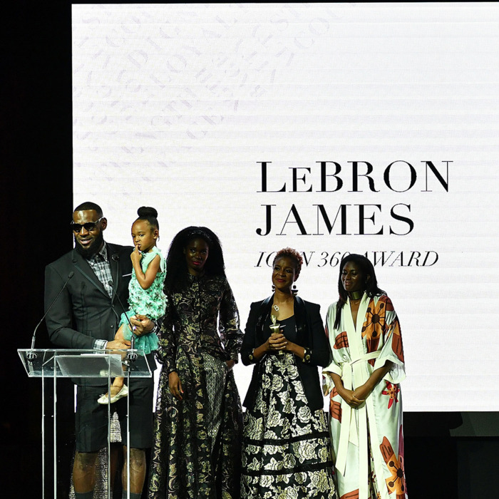 "b4b177d750d5 Lebron James accepting his ""Icon 360"" award at the Harlem Fashion Row gala.  Photo  Slaven Vlasic Getty Images"
