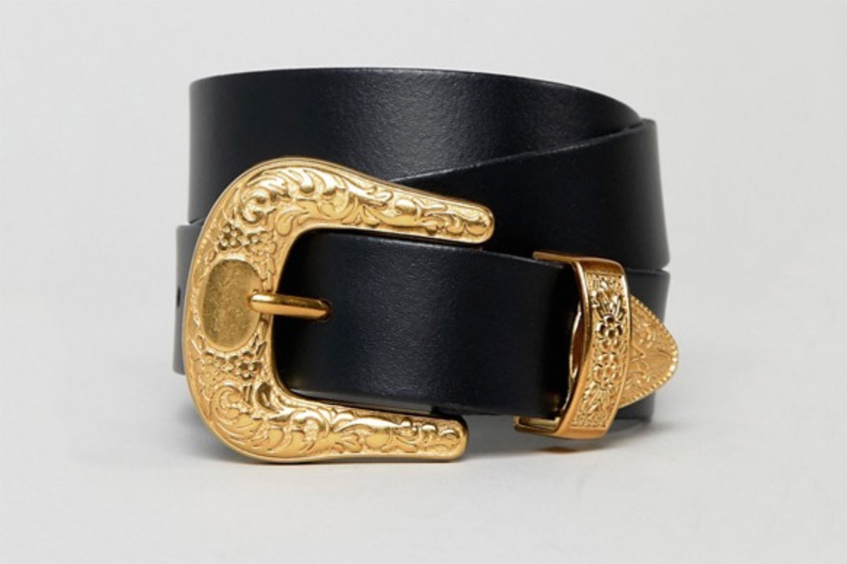 ASOS Design Leather Western Tipped Waist and Hip Belt In Old Gold