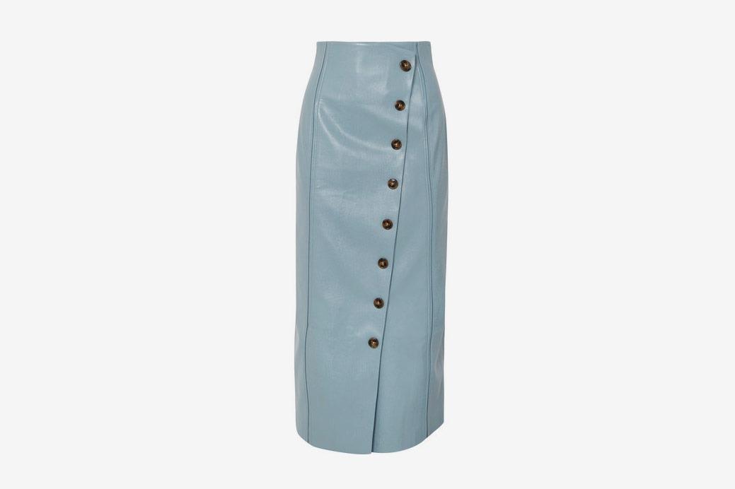Rejina Pyo Faux Leather Midi Skirt