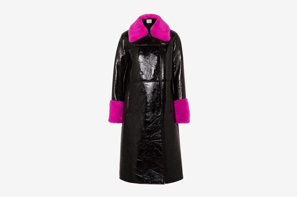 Stand Faux Leather Trimmed Coat