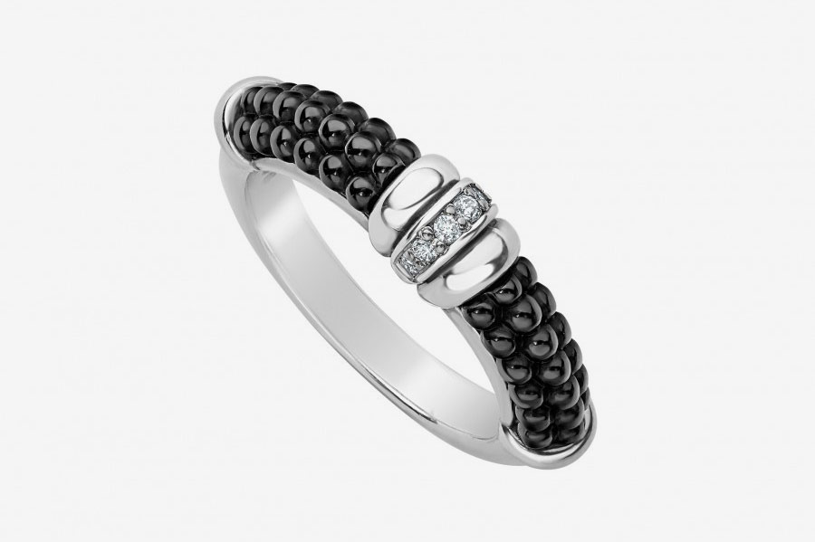 Black Caviar Diamond Stacking Ring