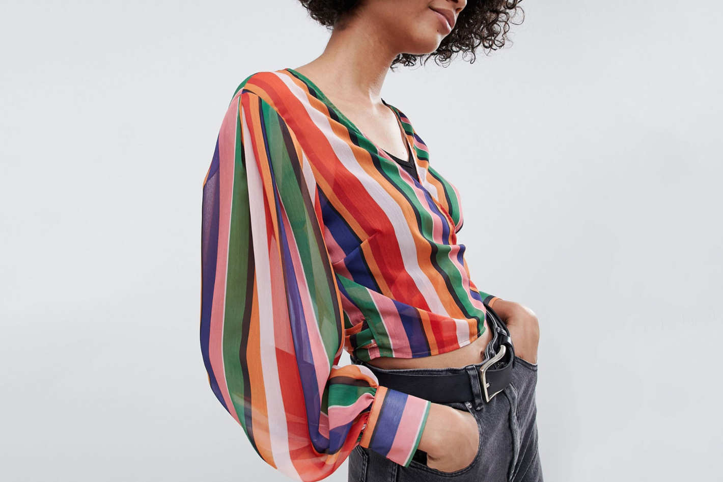Reclaimed Vintage inspired wrap blouse in stripe