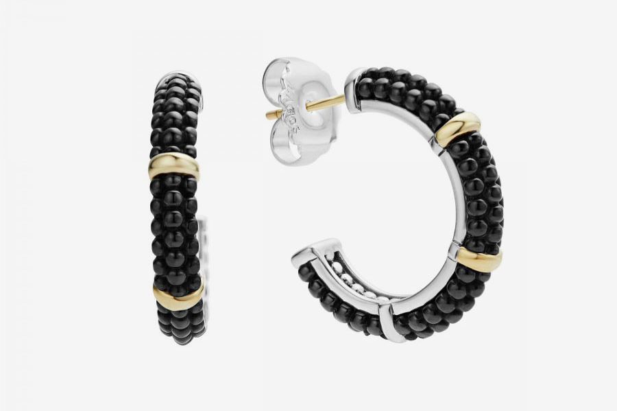 Black Caviar Hoop Earrings