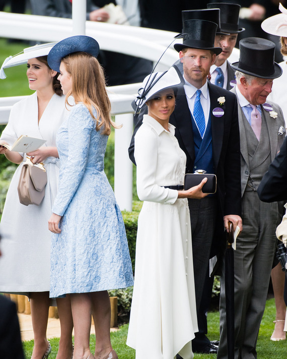 Princess Eugenie, Princess Beatrice, Meghan Markle and Prince Harry.