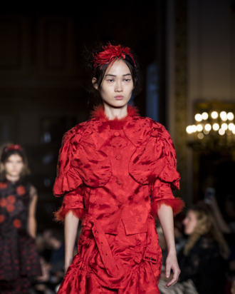 A model walks the runway at the Simone Rocha show.