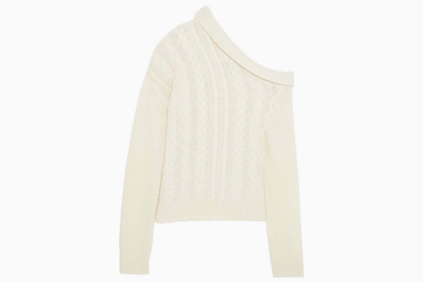 Elaine one-shoulder cable-knit wool-blend sweater