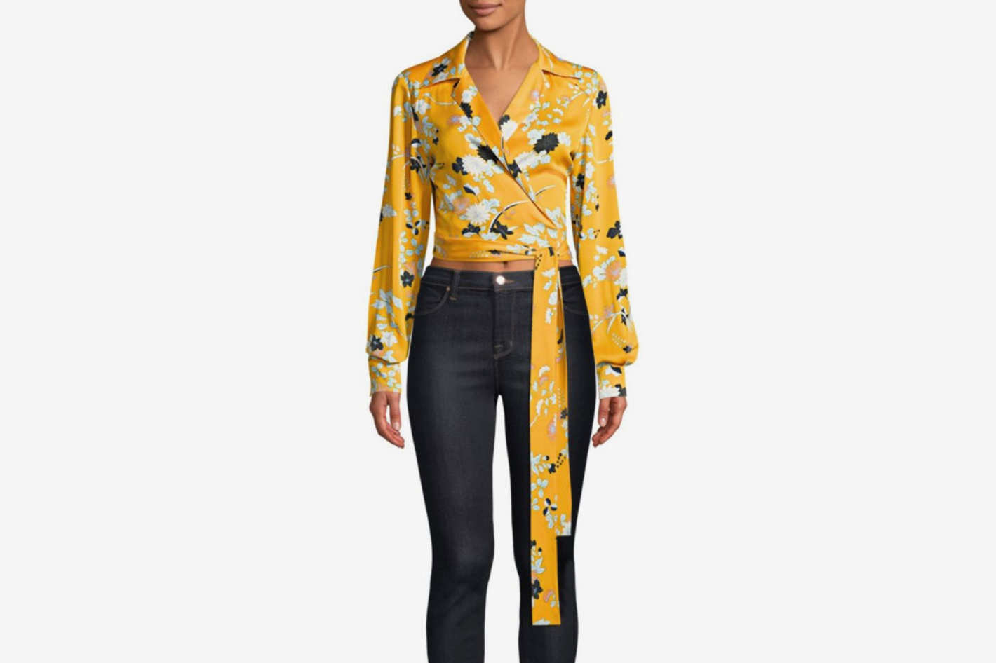 Diane von Furstenberg Silk Cropped Wrap Blouse