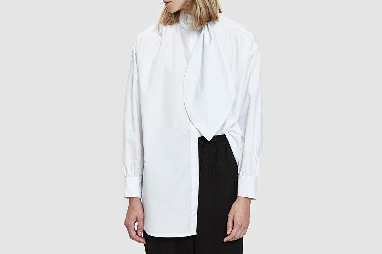 Stelen Valentina Tie Collar Top in White