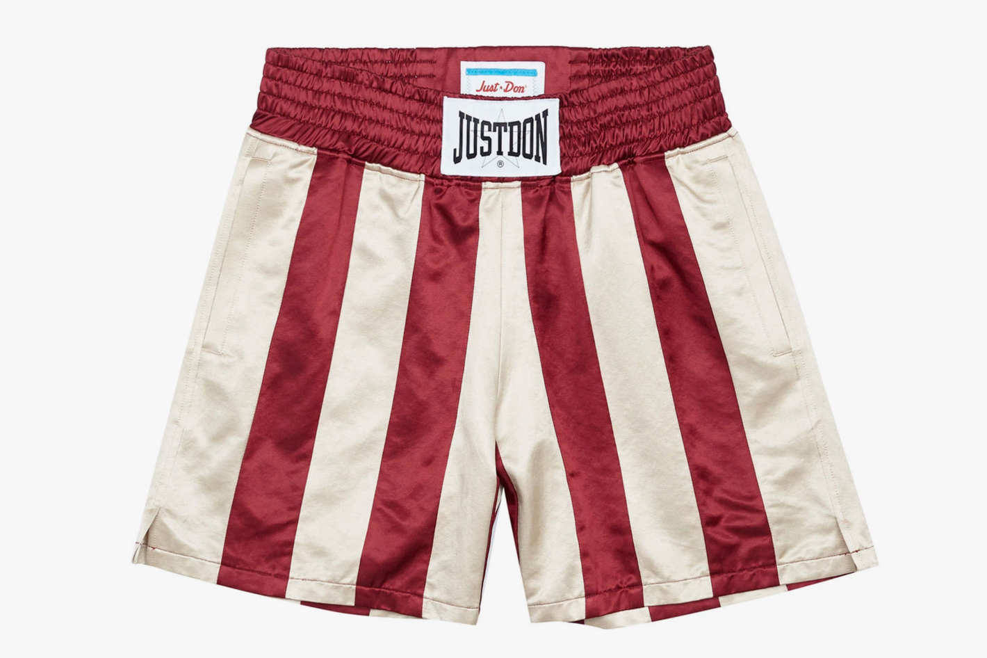 Just Don Striped Cotton-Blend Satin Boxing Shorts