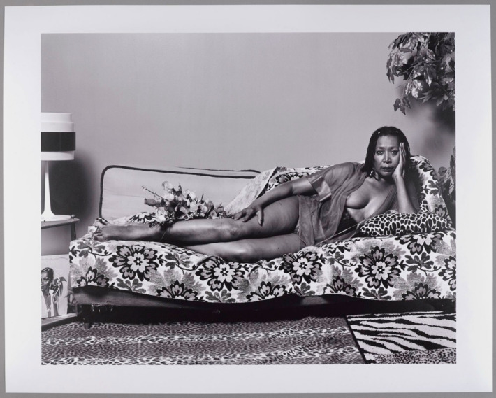 Mickalene Thomas (born Camden, New Jersey, 1971). Madame Mama Bush in Black and White, 2007; printed 2011. Chromogenic photograph, 18 3⁄4 x 23 1⁄2 in. Brooklyn Museum; Gift of Mickalene Thomas, 2011.26. © Mickalene Thomas.