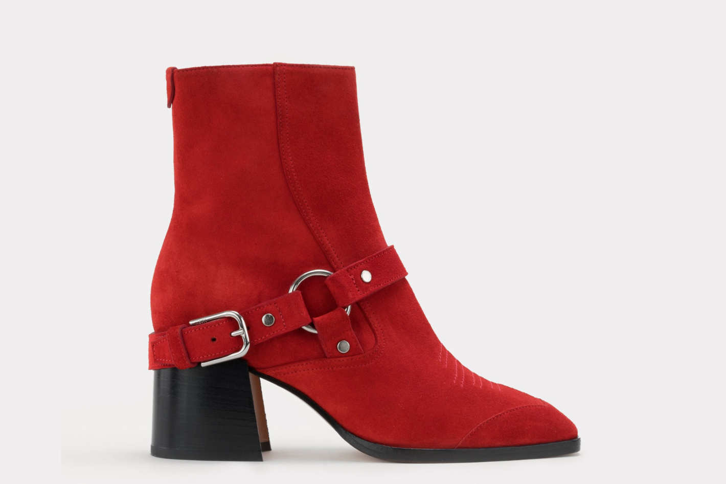 June harness boots in red suede