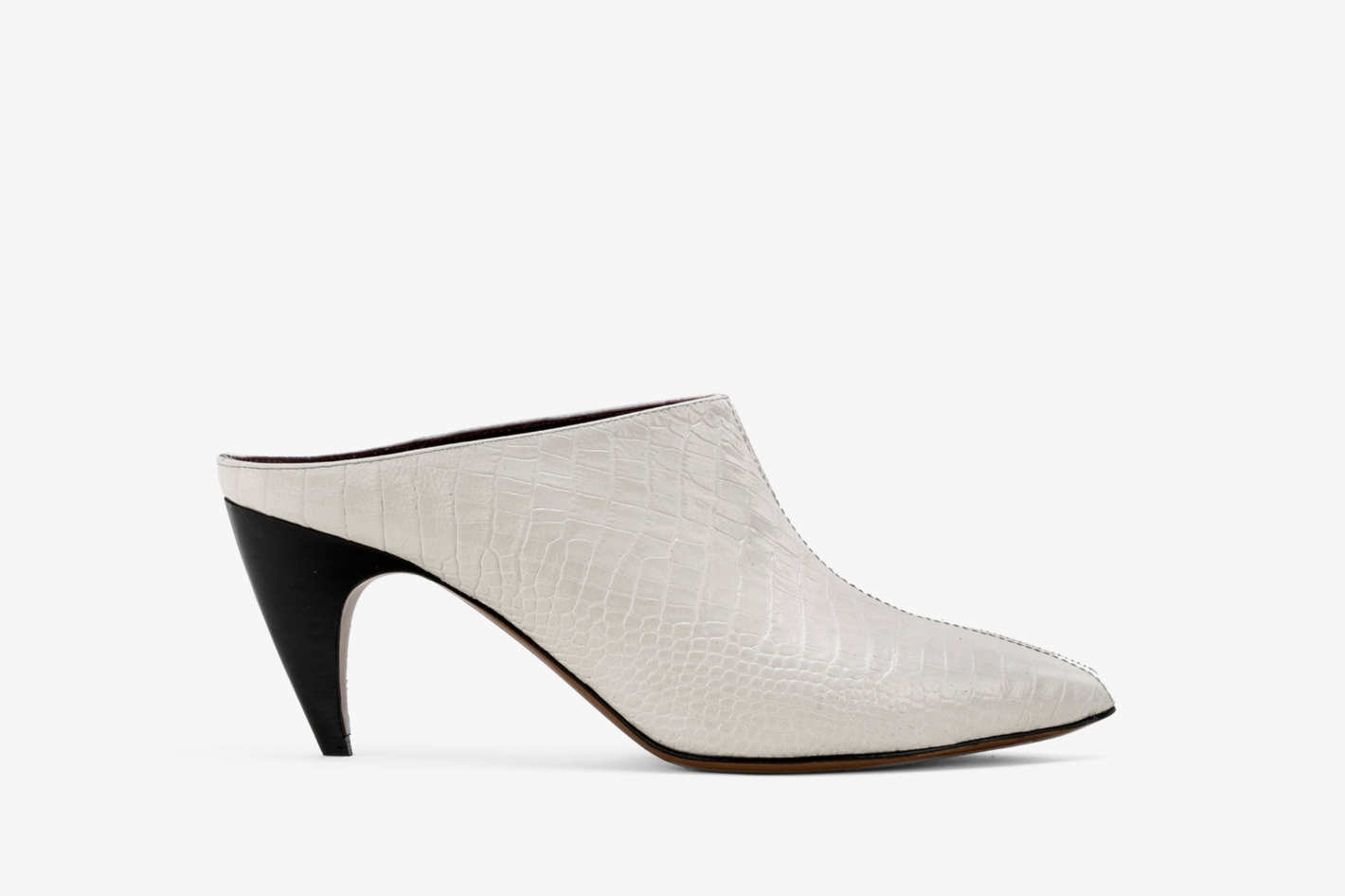 Claire mules in Ivory Crocco