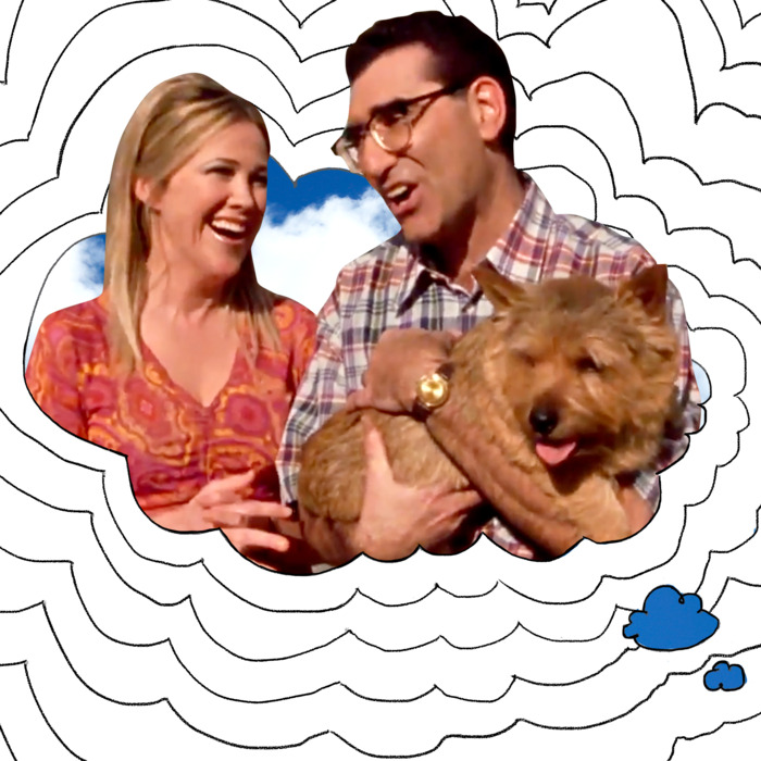 Catherine O'Hara, Eugene Levy, a Norwich Terrier.