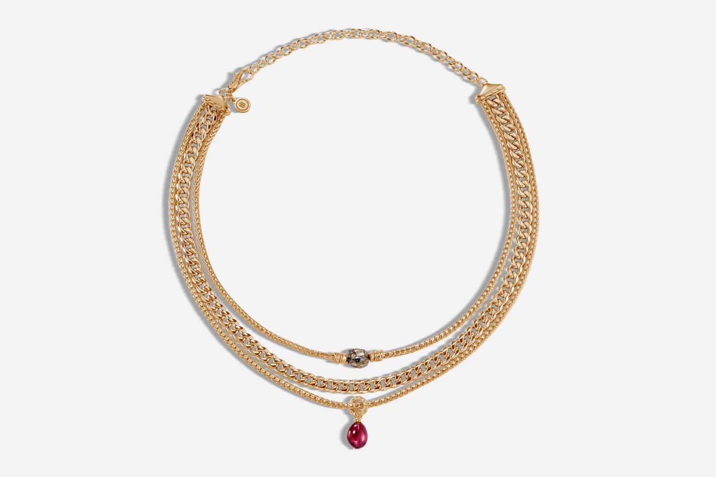 Classic Chain Multi Row Necklace With Milky Rubelite, Pyrite