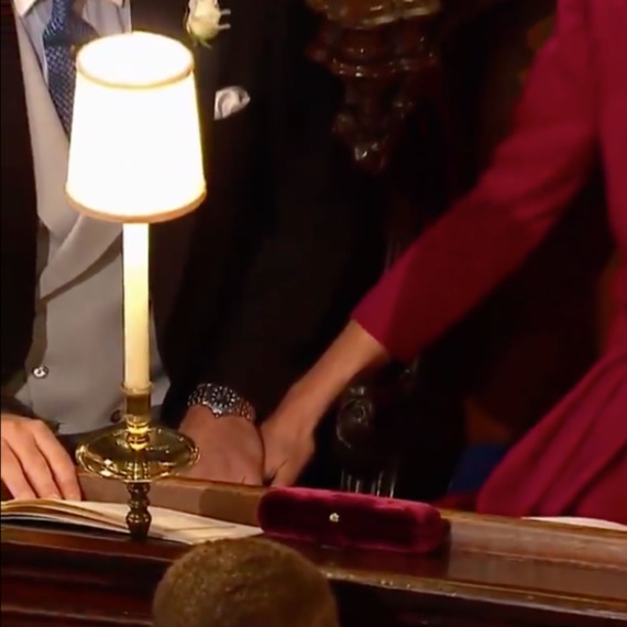 Prince William and Kate Middleton's hands.