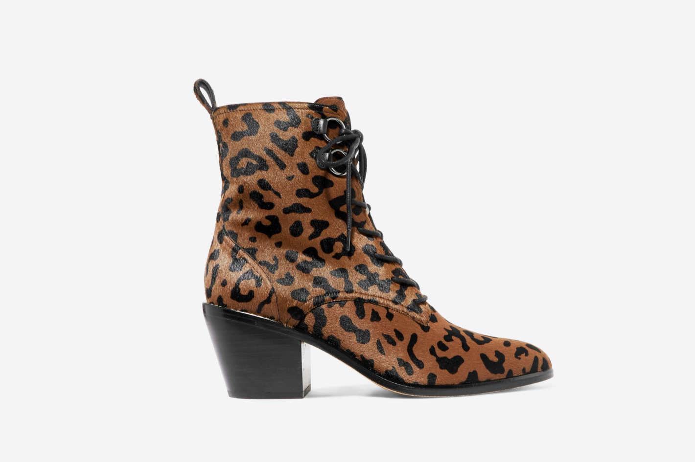 Diane von Furstenberg Dakota Leopard-Print Calf Hair Ankle Boots