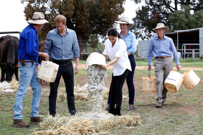 Prince Harry and Meghan Markle on a farm.