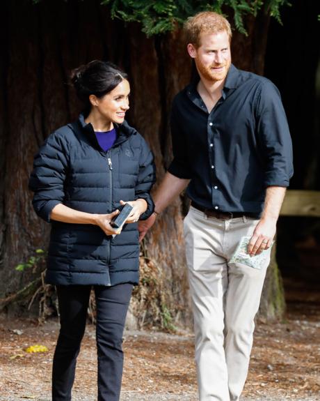 Meghan Markle in Prince Harry's coat.