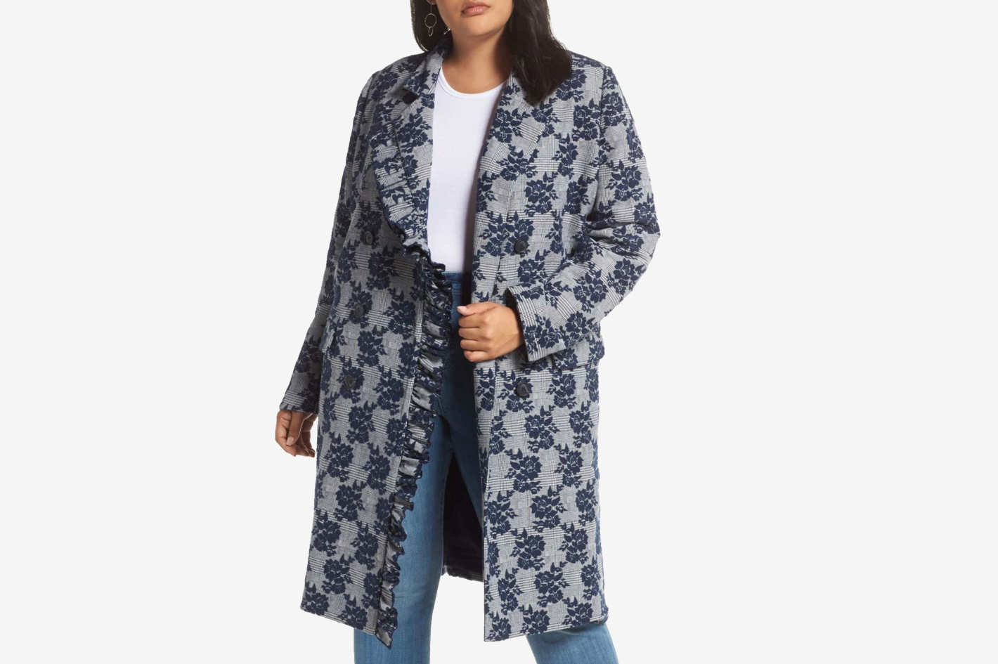 Halogen Floral Plaid Coat