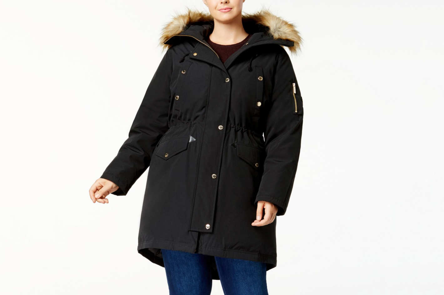 MICHAEL Michael Kors Plus Size Faux-Fur Trim Parka