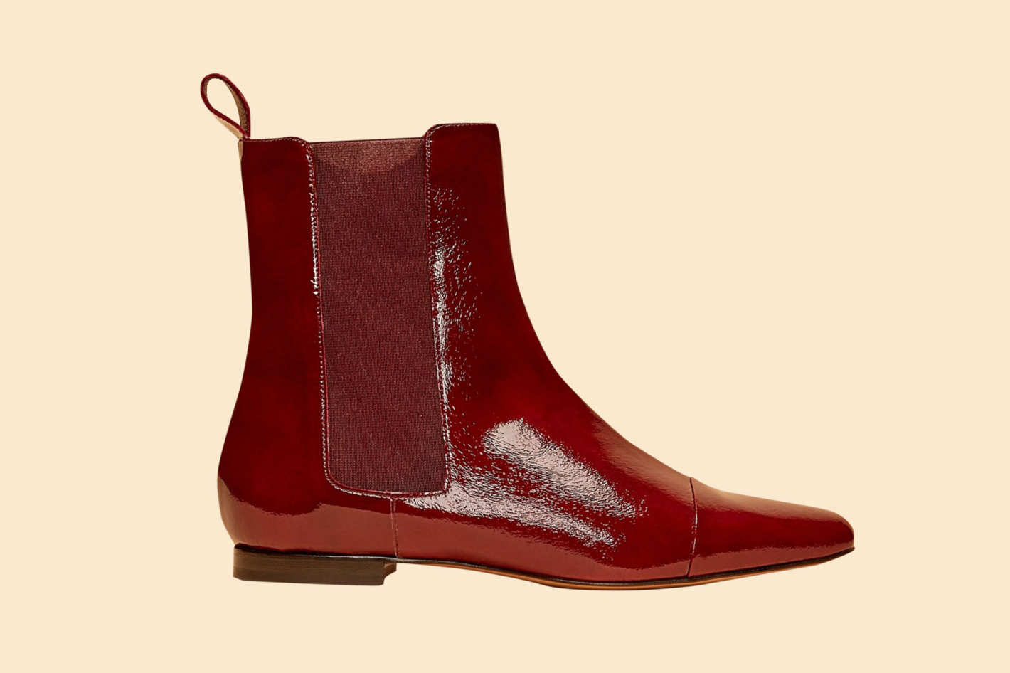 Patent Flat Delphine Boot