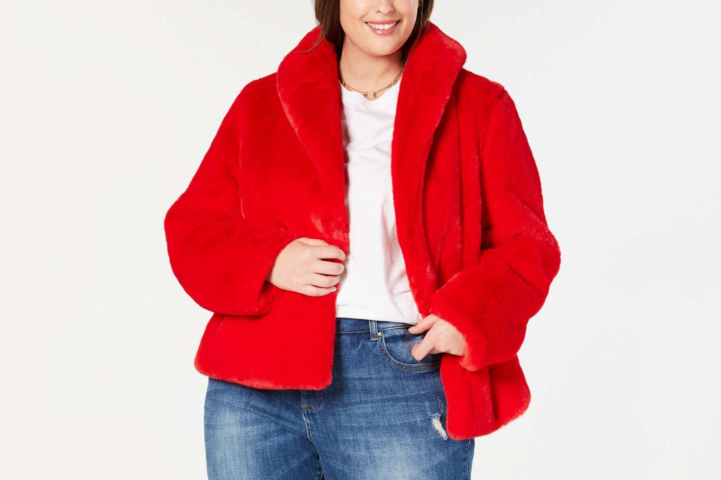 I.N.C. Plus Size Faux-Fur Teddy Coat